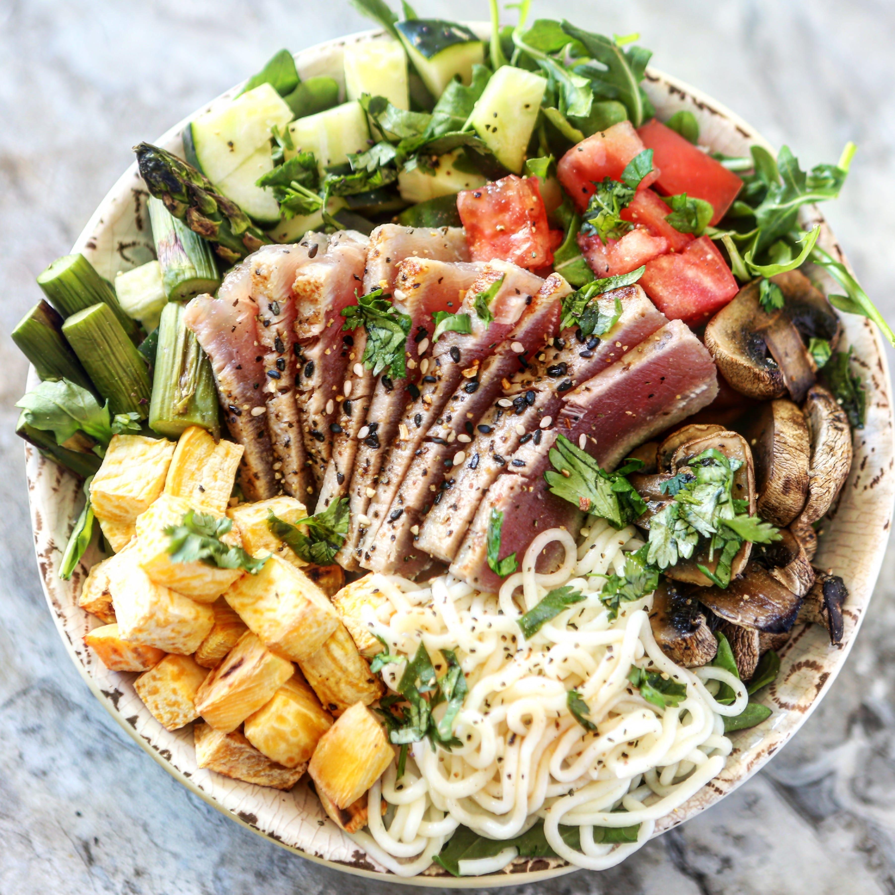 Seared Ahi Tuna Salad with Tahini Yogurt Dressing