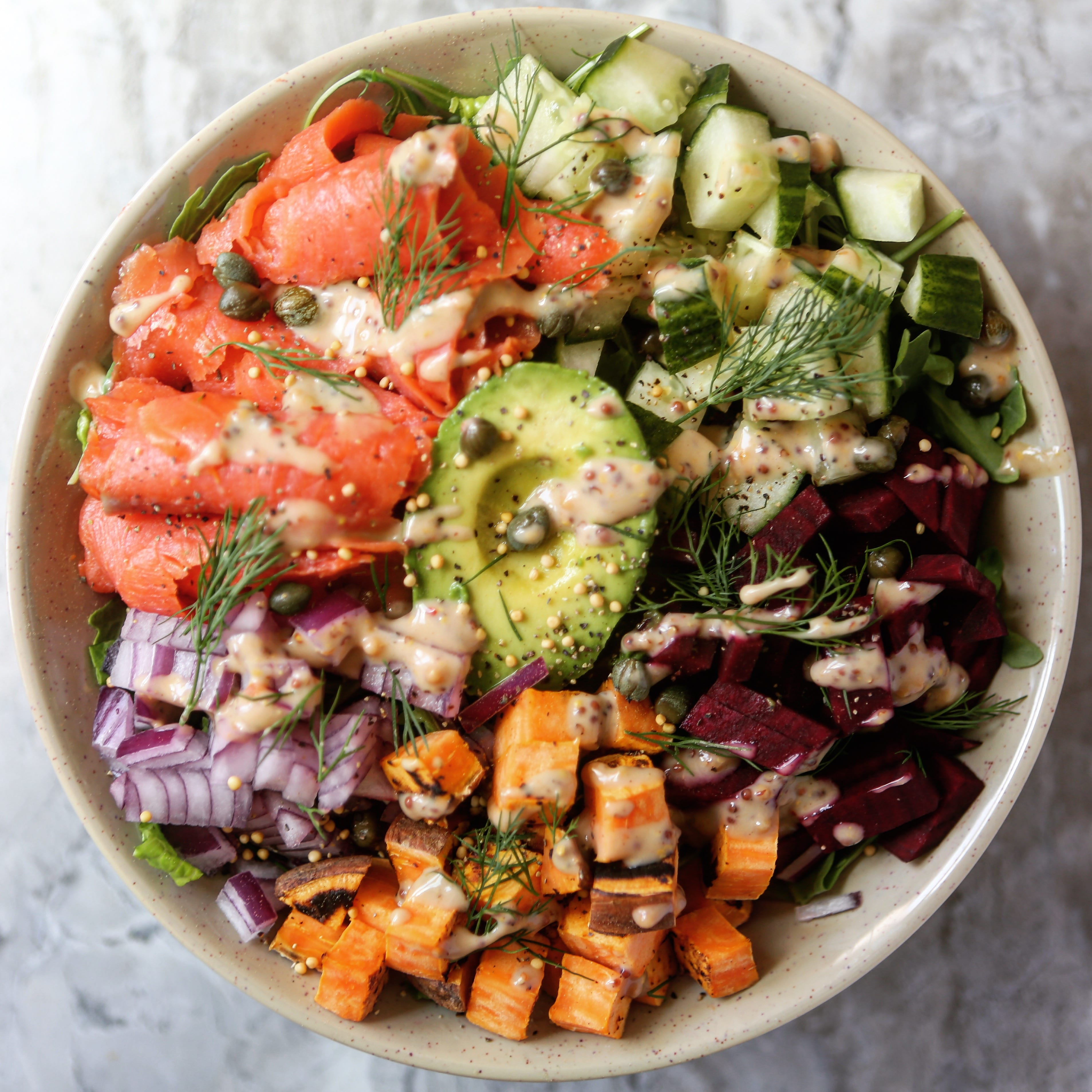 Smoked Salmon Salad with Spicy Mustard Dressing!