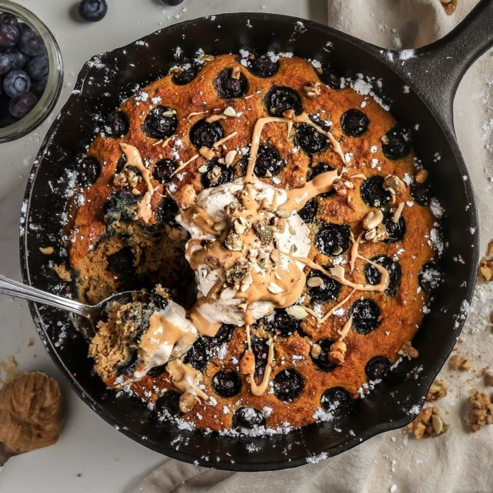 Pumpkin Blueberry Pancake Skillet (Paleo)