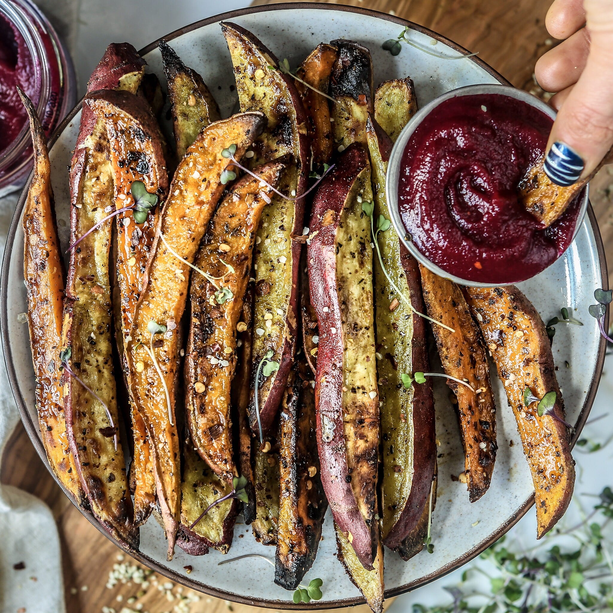 Sweet Potato Fries and Beet Ketchup