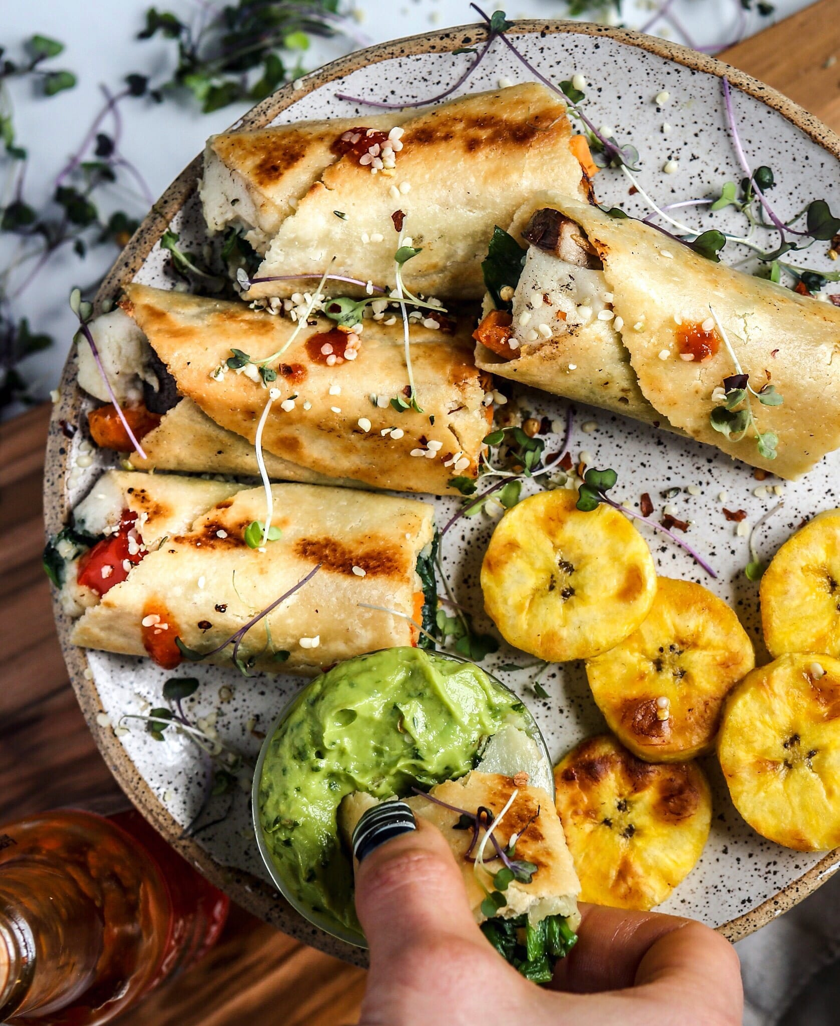 Crispy Vegan Taquitos and Avocado Crema