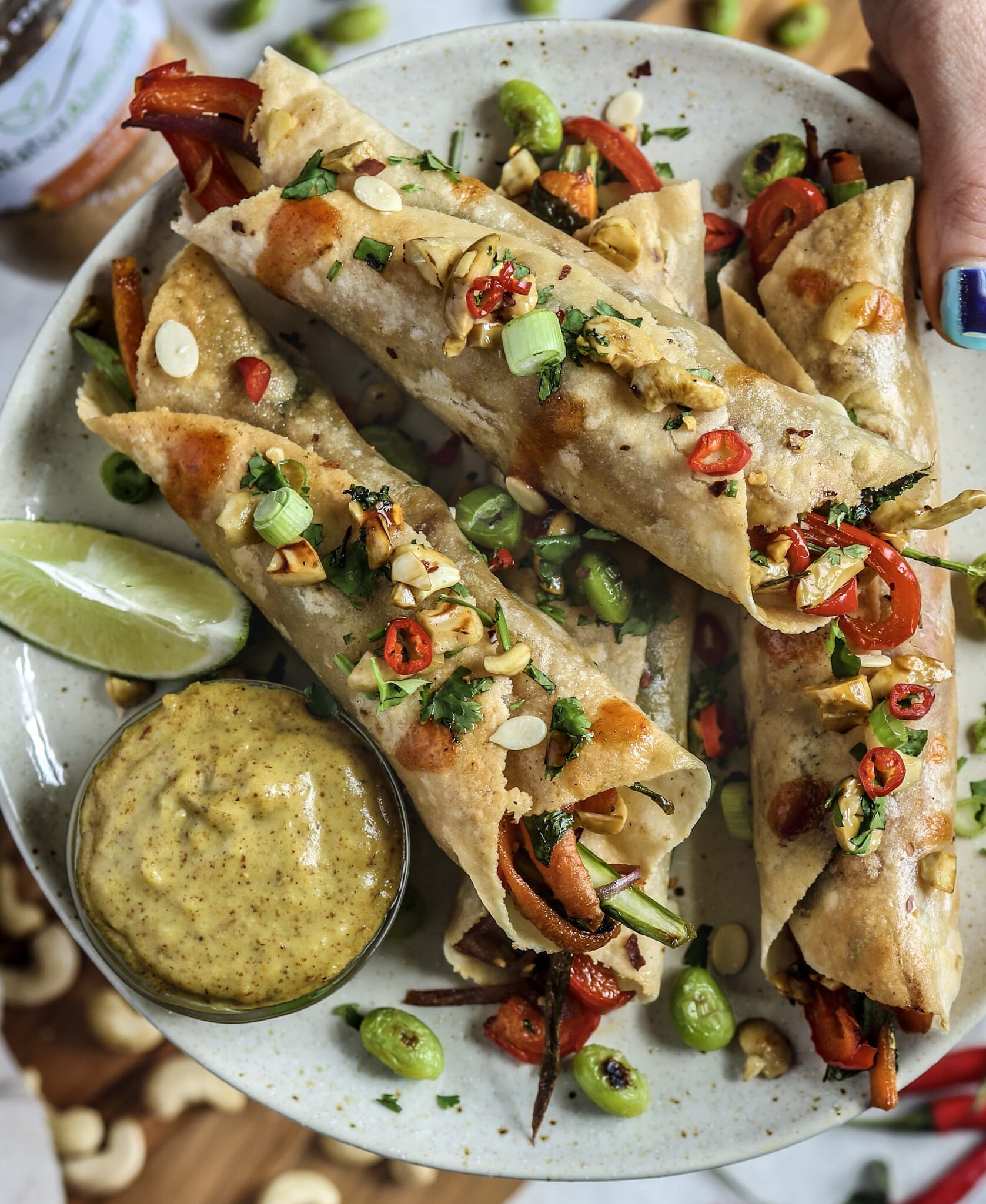 Thai Taquitos and Almond Satay Sauce