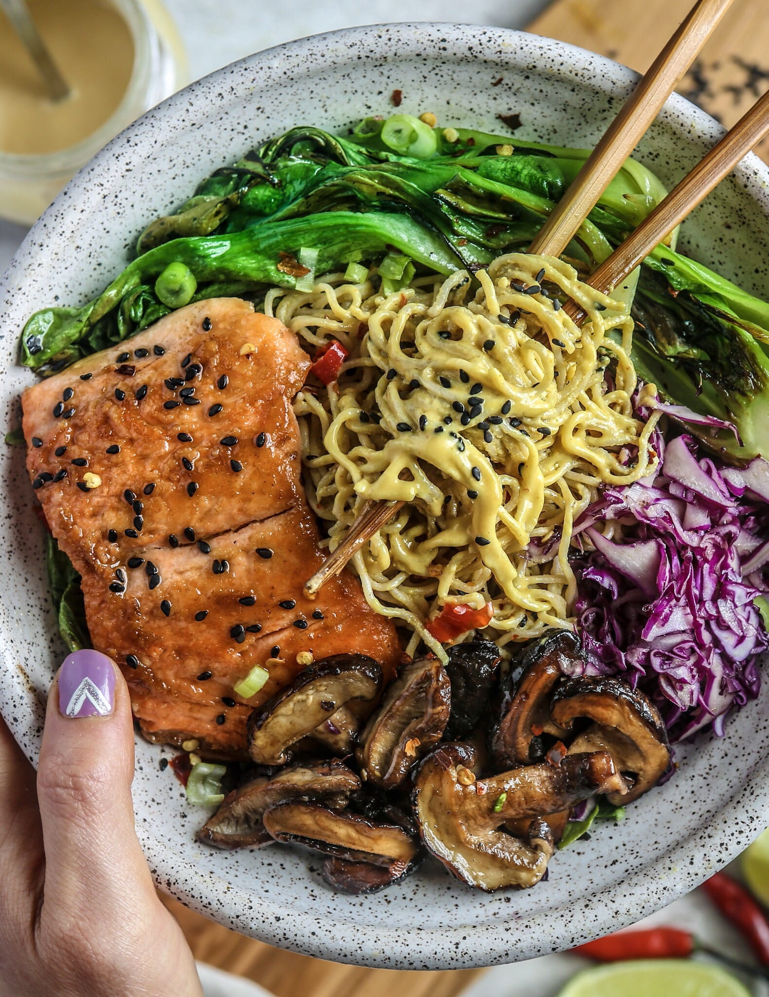 Creamy Turmeric Sesame Tahini Noodles with Glazed Salmon and Veggies