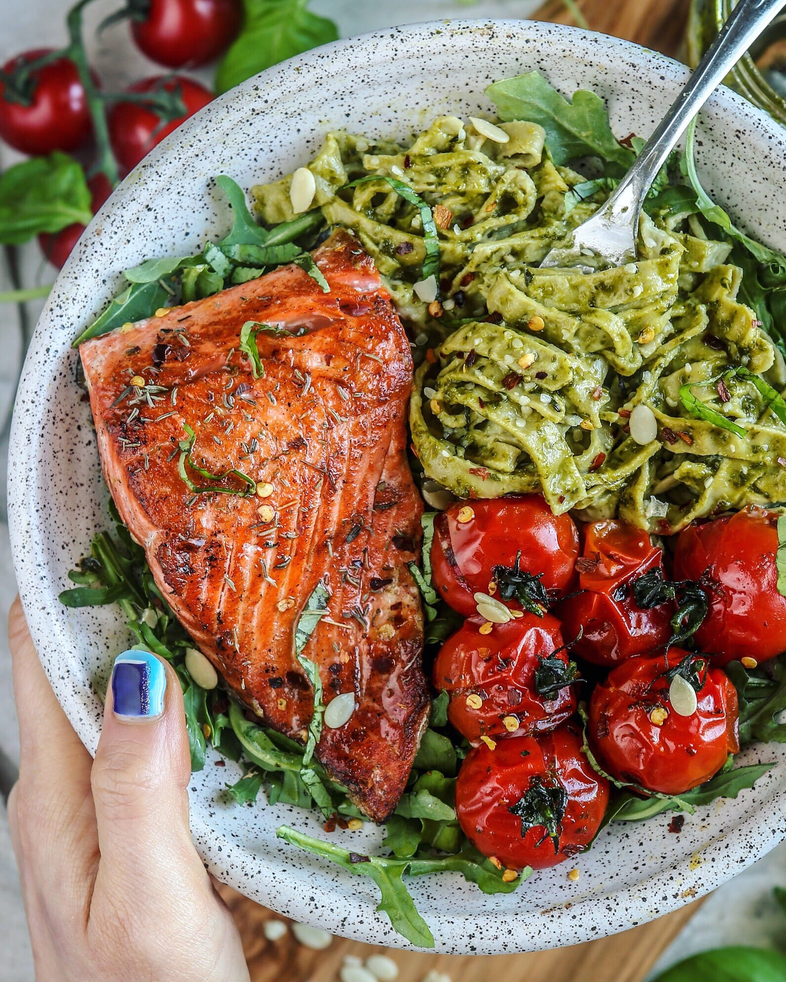 Pesto Cauliflower Alfredo with Crispy Salmon
