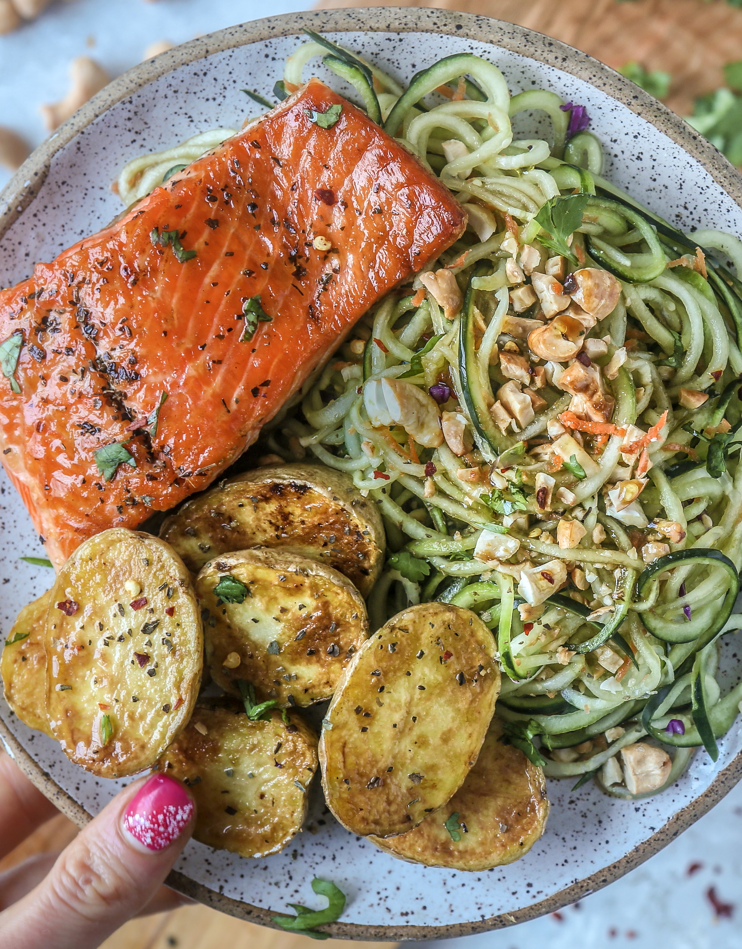Spiralized Cucumber and Cashew Salad