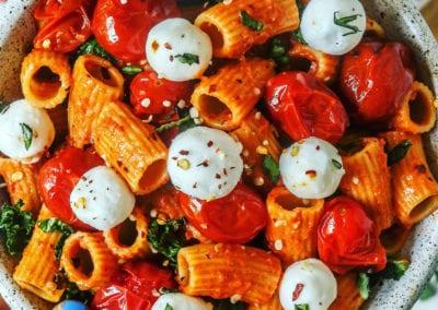 DAIRY FREE CREAMY SPICY TOMATO PASTA w/ KALE + FETA