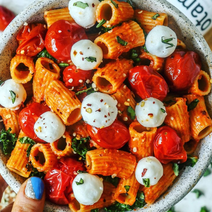 DAIRY FREE CREAMY SPICY TOMATO PASTA with KALE and FETA