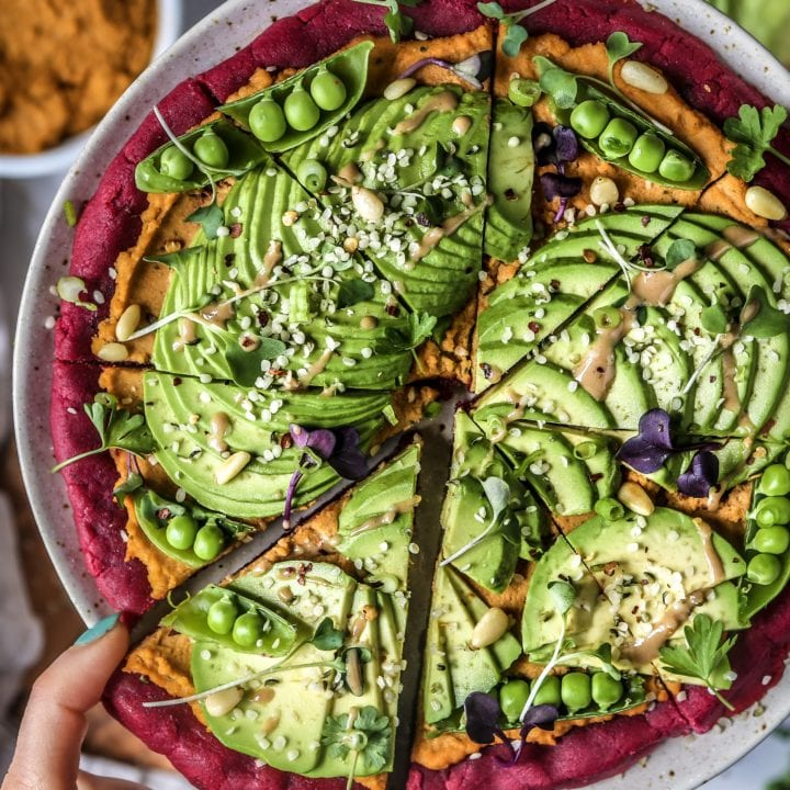 "Beet ""Falafel"" Pizza Crust with Sun Dried Tomato Hummus and Avocado"