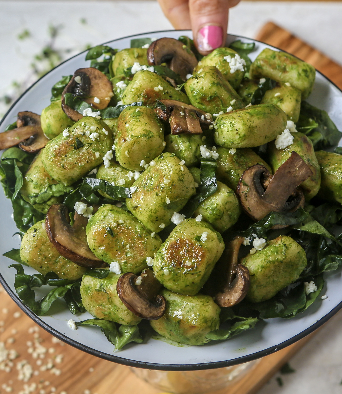 Paleo Cauliflower Gnocchi with Creamy Garlic Spinach Sauce