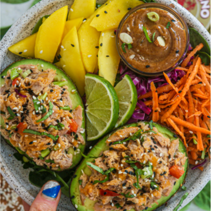 Sesame sriracha tuna stuffed avocado boat salad 720x720