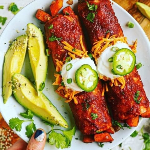Dairy Free, Paleo, Vegan Chipotle Sweet Potato Enchiladas and a 5-Ingredient Sauce