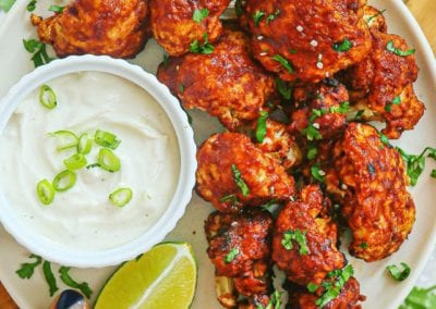 Air-Fried Barbecue Cauliflower Wings and Dairy-Free French Onion Dip