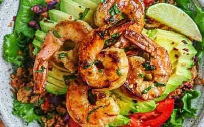 The Best Mexican Cumin-Lime Cauliflower Rice and Habanero Shrimp Bowl