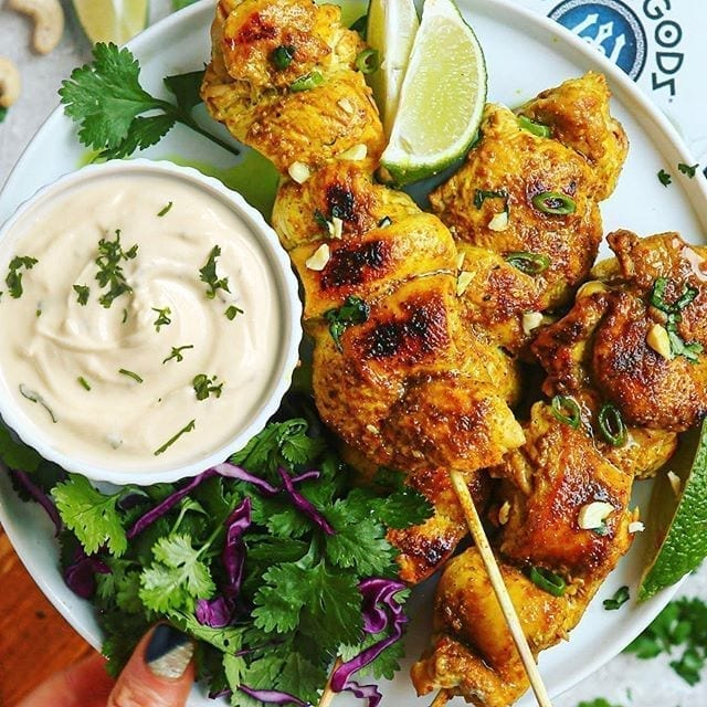 Easy Chicken Satay with 2 Dips: Creamy Honey Cilantro Lime and Almond Ginger Dips