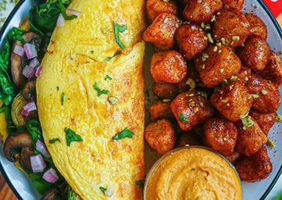 Cinnamon Chipotle Cauliflower Gnocchi with Pumpkin Cheesecake Dip and Loaded Omelet