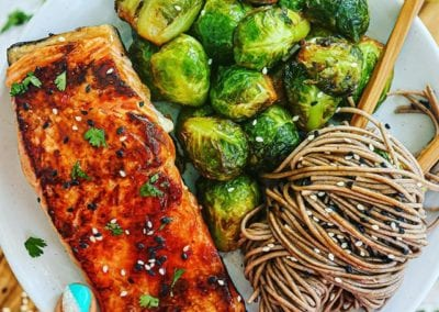 Sweet Chili Salmon with Sweet and Sour Brussels Sprouts