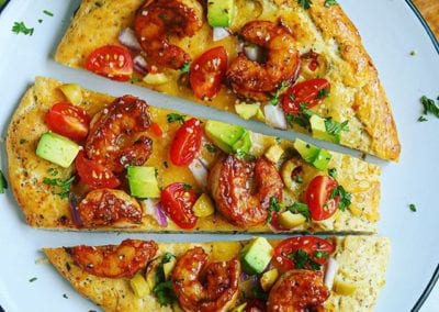 Spicy Shrimp Cheesy Olive Flatbread (gluten-free, dairy-free option)