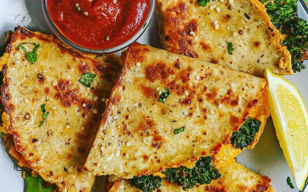 """Dairy-Free Vegan """"Cheesy"""" Broccolini Cheddar Quesadillas"""