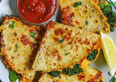 "Dairy-Free Vegan ""Cheesy"" Broccolini Cheddar Quesadillas"