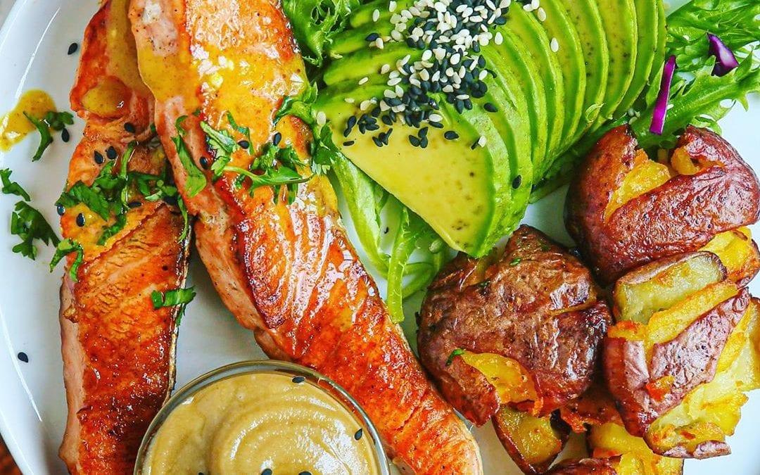 Sesame Honey Mustard Glazed Salmon and 2-Ingredient Tahini Dip