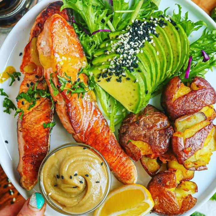 Sesame Honey Mustard Glazed Salmon and Smashed Garlicky Fingerlings and 2-Ingredient Tahini Dip