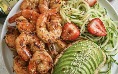 Honey Mustard Shrimp with Balsamic Cucumber Noodle Salad