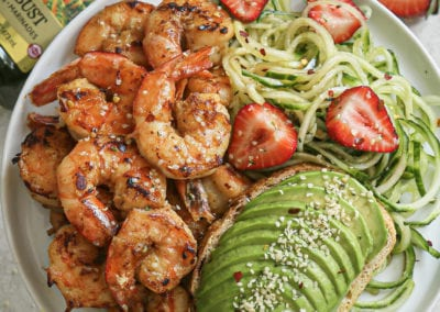 Honey Mustard Shrimp with Balsamic Cucumber Noodle Salad