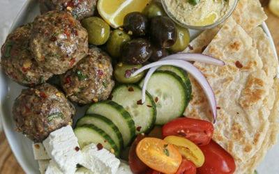 Lamb Kofta Meatballs with Za'atar Hummus and Homemade Paleo Flatbread