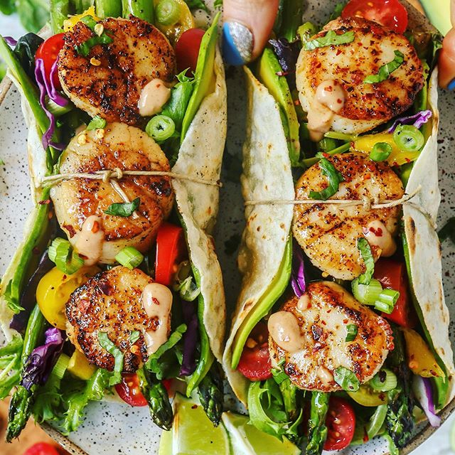 Loaded Cajun Scallop Tacos with Chipotle Yogurt Sauce