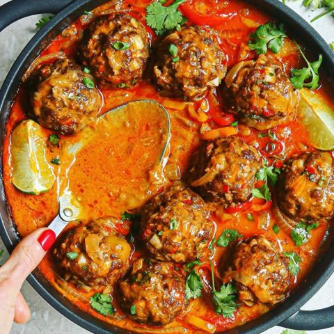 Mango Thai Red Curry Meatballs