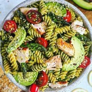 Mixed Herb Pesto and Salmon Pasta Salad
