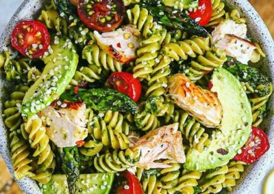 Mixed Herb Pesto and Salmon Pasta Salad