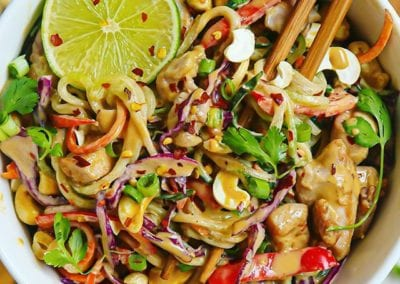 Crunchy Asian Cucumber Cashew Pad Thai Salad