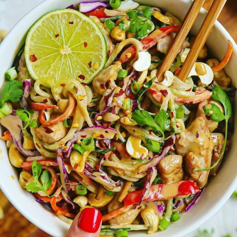 Crunchy Asian Cucumber Cashew Pad Thai Salad