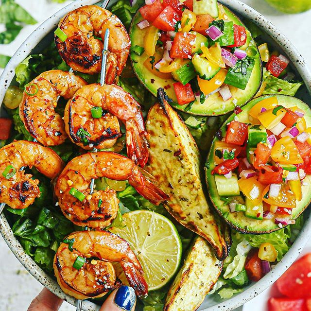 Sweet and Spicy Ginger Lime Shrimp and Watermelon Salsa Stuffed Avocados