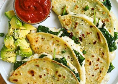 Crispy Cheesy Spinach and Garlic Quesadillas