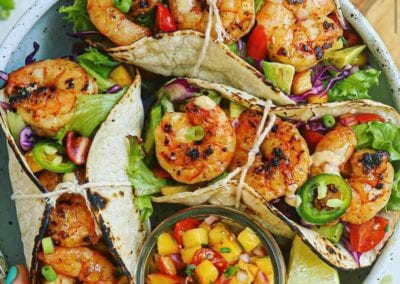 Chipotle-Cumin Shrimp Tacos with Jalapeno Peach Salsa