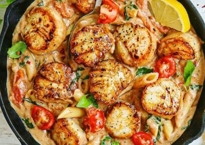 Creamy Tomato, Basil and Garlic Scallops (Paleo, Dairy-Free, and Coconut-Free)