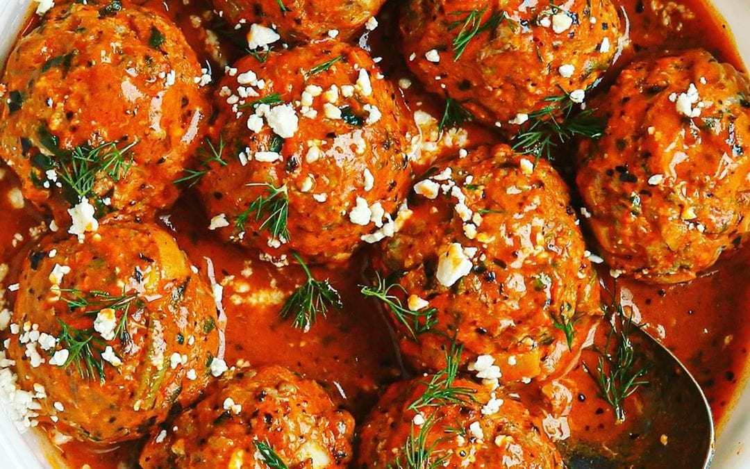 Dairy-Free, Egg-free Ricotta Spinach Meatballs and Roasted Red Pepper Tahini Sauce