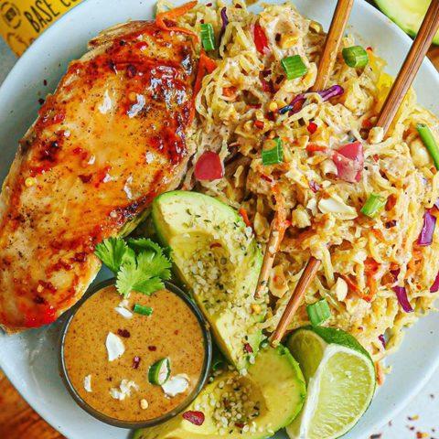 Spaghetti Squash Pad Thai and Sweet Chili Chicken