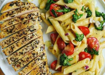 Juicy Ranch Seasoned Chicken and Honey Mustard Pasta Salad