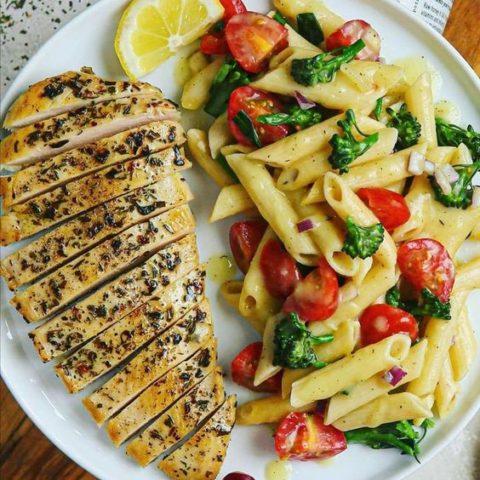 Juicy Ranch Seasoned Chicken and Honey Mustard Pasta Salad