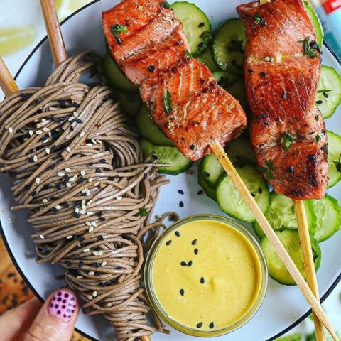 Cilantro Ginger Lime Salmon Satay Skewers with Curried Almond Dip