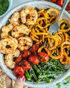 Grain Free Shrimp Scampi with Parsley Arugula Pesto