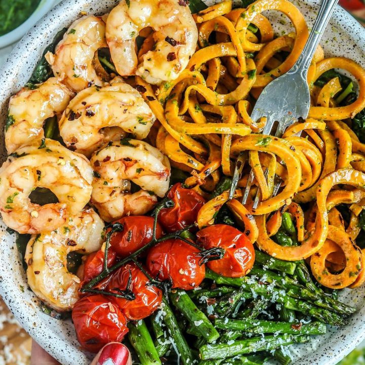 Grain Free Shrimp Scampi with Parsley Arugula Pesto