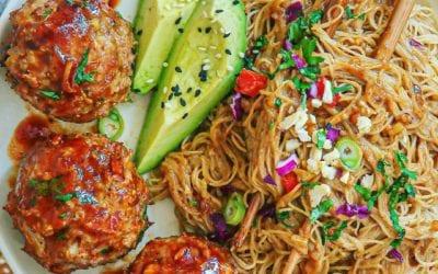 Honey Sriracha Turkey Meatballs and Almond Ginger Rice Noodles