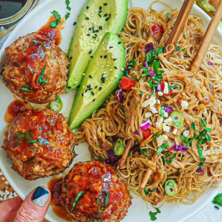 Honey Sriracha Turkey Meatballs and Almond Ginger Rice Noodles