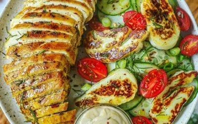 Turmeric Honey Mustard Dill Chicken and Halloumi Cucumber Salad