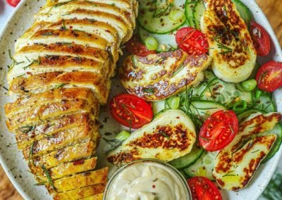 Turmeric Honey Mustard Dill Chicken and Halloumi Cucumber Salad