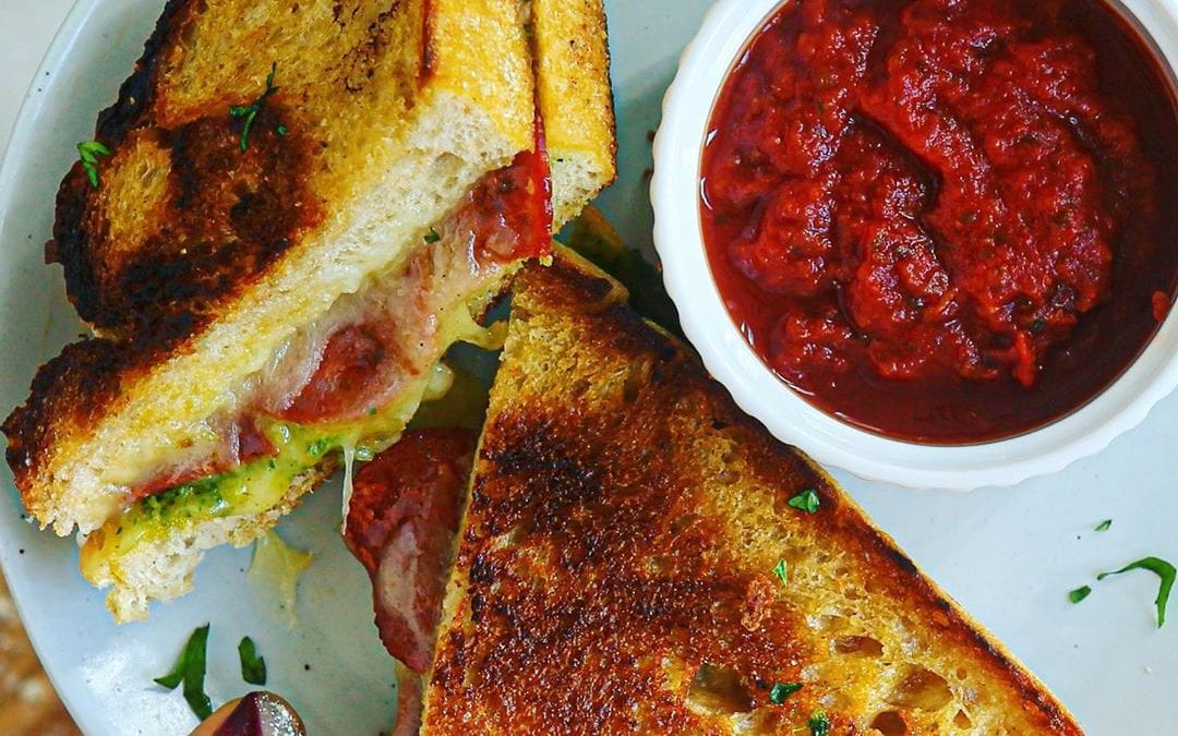 Dairy-Free, Gluten-Free Pesto Pepperoni Pizza Grilled Cheese